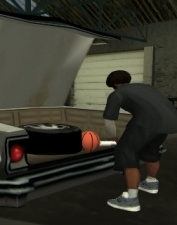 CJ opening a car trunk