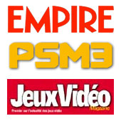 logos of Empire, PSM3 and Jeux Vid�o